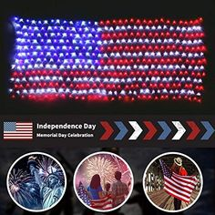 Waterproof American US Flag LED String Light-[Upgraded Larger and Safer]-USA Flag Light/Decorative Hanging Ornaments for Independence Day, Memorial Day,July National Day Decoration