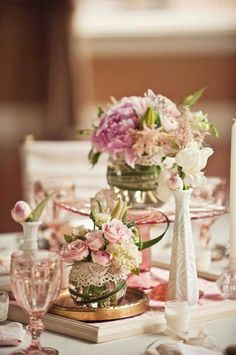 Vintage Wedding Ideas Milk Glass and Pink Depression Glass Centerpieces and Frames Vintage Wedding Centerpieces, Vintage Wedding Theme, Glass Centerpieces, Chic Wedding, Our Wedding, Wedding Decorations, Table Decorations, Wedding Ideas, Decor Wedding