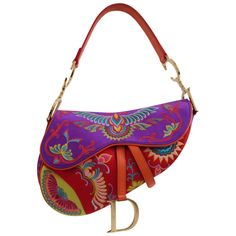 Christian Dior Multicolor Limited Edition Saddle Bag | From a collection of rare vintage handbags and purses at https://www.1stdibs.com/fashion/accessories/handbags-purses/