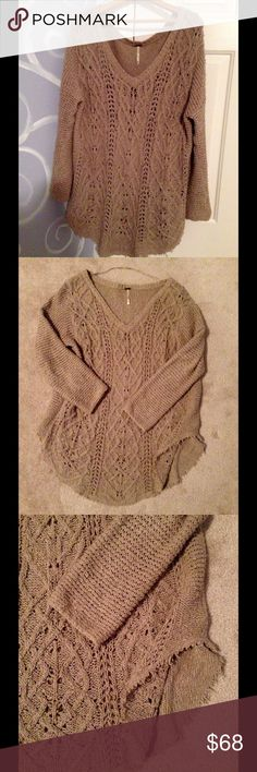 🌙Free People Cross My Heart Pullover Awesome boho look with a skirt, jeans, or even shorts. Color is like a sand or taupe. Oversized, cable knit with raw hem. Excellent condition. Medium weight.  🌸 Free People Sweaters