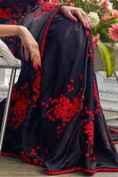 Black Satin Thread Embroidered Saree-VJ3802 Saree Blouse, Sari, Saree Look, Soft Silk Sarees, Fancy Sarees, Ribbon Work, Hand Embroidery Designs, Indian Attire, Saree Styles
