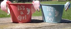 Girl and Boy Metal Buckets - vinyl gift idea