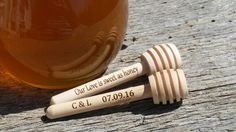 Engraved  Wooden MINI Honey Dipper, Personalized Honey Stirrer, 10 by FineGiftsEngraving on Etsy https://www.etsy.com/hk-en/listing/276280766/engraved-wooden-mini-honey-dipper