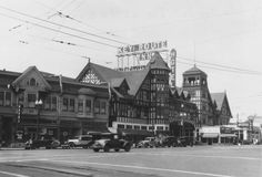 The Key Route Inn (1907-1932) was a showplace hotel on Broadway at (what would later become) West Grand. Intended to promote both the Key System railway and downtown Oakland, it sat directly astraddle a transbay streetcar station so visitors and guests (in what was still largely a pre-automobile era) could get anywhere quickly. Heavily damaged by fire in 1930, the Great Depression prevented reconstruction, and the building was torn down in 1932.