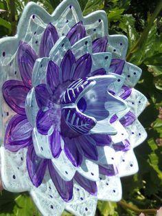 Pearlized Glass Plate Flower Garden Art Hand Painted in Blue Pearl & Purple  - Garden Decor, Garden Sculpture