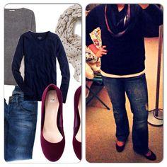 Navy Sweater-Goodwill Scarf-T.J. Maxx Jeans-Gap Outlet Oxblood Flats-Ross