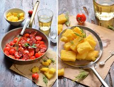 Fried polenta croutons, great idea!!! CHORIZO AND CHERRY TOMATO SALAD WITH FRIED POLENTA CROUTONS