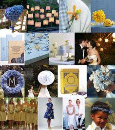 Mood: fresh, lighthearted Palette: hydrangea blue, daffodil yellow, white