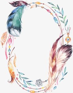 Borders And Frames, Borders For Paper, Dreamcatcher Wallpaper, Boho Tattoos, Feather Painting, Floral Border, Watercolor Design, Flower Backgrounds, Flower Frame