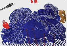 Gudrun et les fleurs, Linocut, Signed and numbered in pencil, by the painter, Alexandre, FASSIANOS      Gudrun et les fleurs    Linocut  Signed and numbered in pencil  papersize : 25x35 in (63x90 cm)  imagesize : 25x35 in (63x90 cm)    Issue : 20 copies  Year :    Price : € 1500 - $ 1 869 Art And Illustration, Illustrations And Posters, Painter Artist, Artist Art, Rodin, Greece Painting, Empire Ottoman, Greek Art, Detail Art