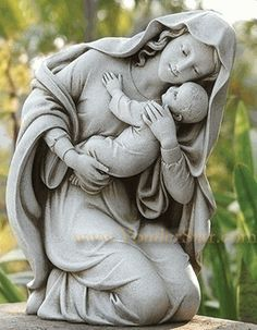 Kneeling Madonna and Child garden statue. Beautiful loving Madonna and child figure for garden, grave or chapel. Modern style yet traditional figure of the Catholic faith. Dimensions : Made of resin and stone Joseph Garden Collection Outdoor Nativity Scene, Outdoor Garden Statues, Angel Images, Angel Pictures, Classic Garden, Sand Sculptures, Madonna And Child, Mother Mary, Our Lady