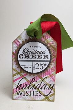 holiday wishes tag using Papertrey Ink stamps and dies and May Arts ribbon.