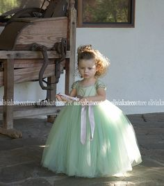 Menta fiore vestito ragazza
