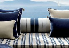 Pinner: Blue and white from Loro Piana Interiors. Perfect for a beach house Sailboat Decor, Sailboat Interior, Sailboat Living, Sailboat Yacht, Sailing Catamaran, Yacht Design, Boat Design, Boot Dekor, Nantucket