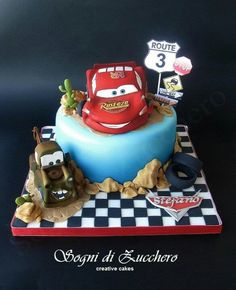 Cars cake for feature birthdays Disney Cars Cake, Disney Cakes, 2 Birthday Cake, Cars Birthday Parties, Gateau Flash Mcqueen, Fondant Cakes, Cupcake Cakes, Race Car Cakes, Mcqueen Cake