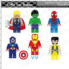 Super Hero Clipart(S008), Cute Superhero Lego clip art Personal and Commercial Use /Card Design/Scrapbooking/Web Design/INSTANT DOWNLOAD on Etsy, US$5.00