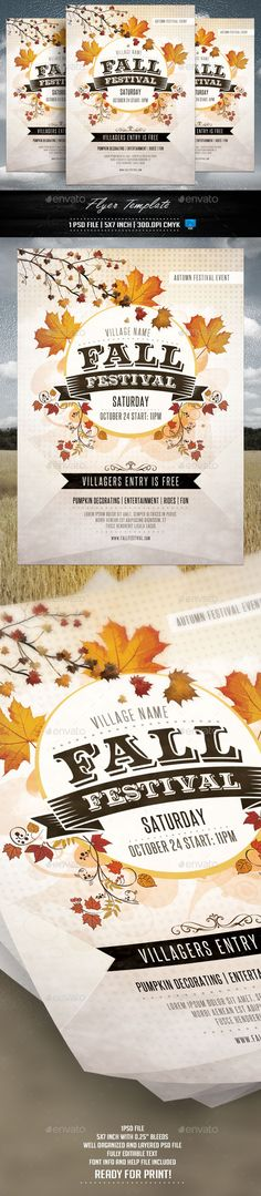 Buy Fall Festival Flyer Template by Briell on GraphicRiver. Fall Festival Flyer Template 1 PSD file, inch with bleeds Flyer And Poster Design, Flyer Design, Layout Design, Print Design, Festival Flyer, Festival Posters, Event Flyers, Club Flyers, Design Brochure