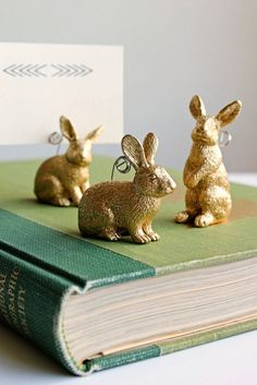 DIY Bunny Placecard Holders! Or, more practical for us, a cute way to display Easter cards :)