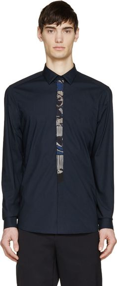 Kenzo Navy Trompe-l'oeil Button-Up Shirt