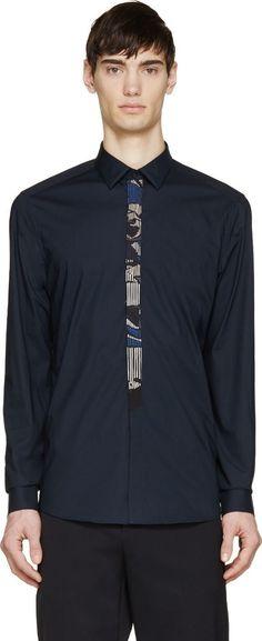 Kenzo Navy Trompe-l'oeil Button-Up Shirt