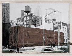 A preparatory collage illustrates Christo's vision to wrap the MCA. (Courtesy of Christo)