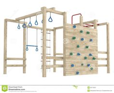 Picture of Wooden jungle gym or climbing frame with handholds, footholds and ropes isolated on a white background stock photo, images and stock photography.