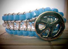 "Triple row leather cuff bracelet "" Peace & Love""/ triple bead row bracelet/ boho bracelet/ chic jewelry/ for her"