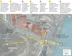 Gráfico de la tragedia en la frontera de Taraja (06.02.2014). ARTICULO DE EL PAIS