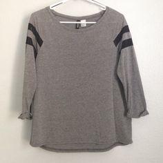 H&M grey loose top 3/4 length sleeves, black stripes are mesh detailing. loose fitting H&M Tops Tees - Long Sleeve