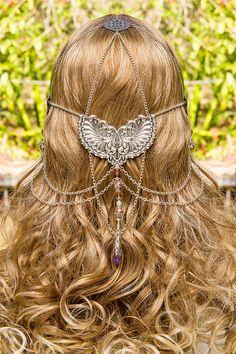 Wings of Isis, stunning silver & pink swarovski crystal hand made filigree bridal circlet. 199.00, via Etsy.