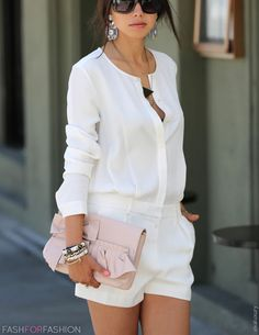 white shirts, shorts, coral purse. Street summer #women #fashion outfit #clothing style apparel @roressclothes closet ideas