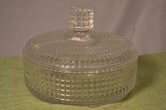 Unique glass candy dish square checkered pattern vintage retro 50's