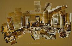 Collage photo.   Sunday Morning Mayflower Hotel New York, by David Hockney