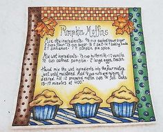 "Vintage Thanksgiving Fall ""Pumpkin Muffins"" Applique Iron On  7 x 7"