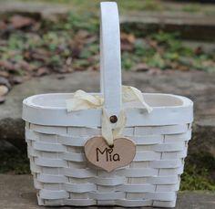 Flower Girl Basket Personalized Heart Custom by MichelesCottage, $34.50