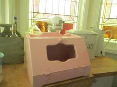 Shabby  Vintage bread box pale light pink by Vintagewhitecottage