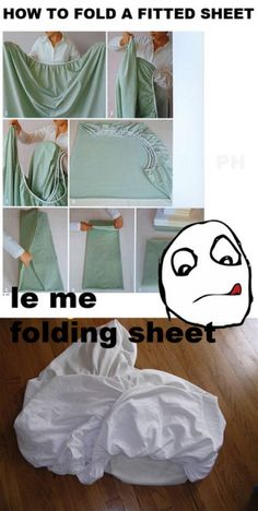 Fitted sheets are assholes but this is how I do it.