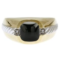 Men's Black Onyx and Diamond Accent Ring In Two Tone Gold by gemologica on Etsy