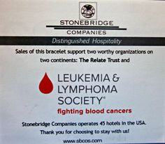 All funds received from the sale of these bracelets will go directly to The Relate Trust and the The Leukemia & Lymphoma Society.  You can purchase your 5.00 bracelet at the Sheraton Roanoke Hotel and Conference Center front desk staff in #Roanoke, Virginia