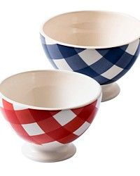 frenchgardenhouse.com  Country Checked Cafe au Lait Bowl Set of 4 A