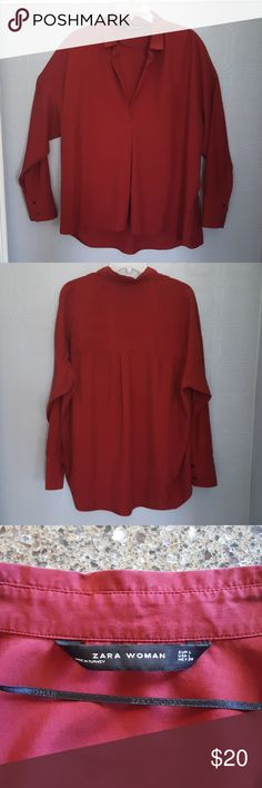Zara Woman Burgundy Hi-Low Tunic Top Sz Large Zara Woman Burgundy Hi-Low Tunic Long SleeveTop. Size Large. In Excellent Preowned Condition. Photo appears red. I took several pics but couldn't show actual burgundy color like I wanted. Is soft & comfy! Zara Woman Tops Blouses