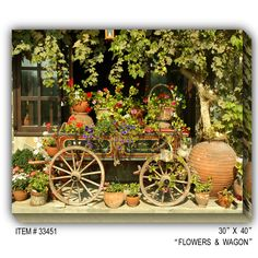 Flower Wagon Wrapped Photographic Print on Canvas