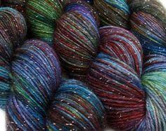 DESTINATIONS glitter chaussette fil STOCKHOLM teinté à la main sw merino nylon stellina 3,5 oz 435 verges