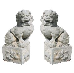 A Pair of large 19th Century stone Foo Lions from Southern China | From a unique collection of antique and modern sculptures and carvings at http://www.1stdibs.com/furniture/asian-art-furniture/sculptures-carvings/