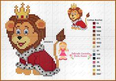 Leão coroa Disney Cross Stitch Patterns, Cross Stitch For Kids, Cross Stitch Baby, Cross Stitch Animals, Cross Stitch Charts, Cross Stitching, Cross Stitch Embroidery, The Lion King, Disney Letters