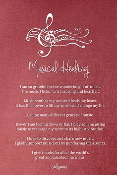 'Affirmation - Musical Healing' by CarlyMarie Positive Thoughts, Positive Vibes, Quotes Positive, Mantra, Namaste, Music Quotes, Life Quotes, Inspirierender Text, Motivational Quotes
