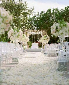 White rose petal aisle.