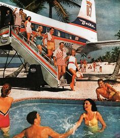 Flew for the first time across country in 1959 in a prop passenger plane. This is an old Delta To Miami ad.