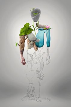 NatureMan - Digital illustration by Michael Tomaka, via Behance