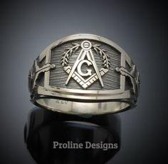 Masonic Ring in Sterling Silver ~ Cigar Band Style - ProLine Designs Masonic Tattoos, Masonic Jewelry, Masonic Symbols, Cigar Band, Beautiful Gift Boxes, Chrome Plating, Precious Metals, Band Rings, Sterling Silver Rings